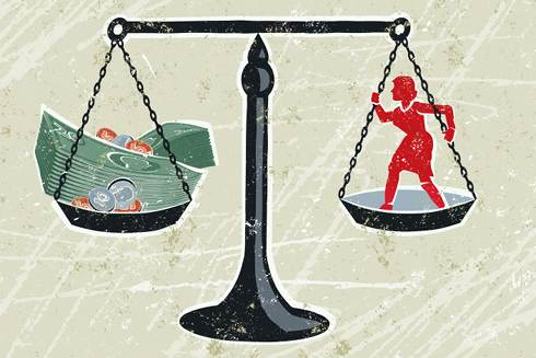 Scale of Justice & Cash | Wage Garnishment