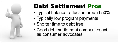 Debt Settlement Pros: Typical reduction of balance around fifty percent. Typically low program payments. Shorter time to debt free. Good debt settlement companies act as consumer advocates.